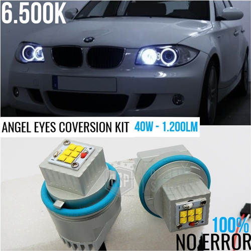 LUCI DI POSIZIONE LED ANGEL EYES PER BMW SERIE 1 5 6 7 X3 X5 CANBUS NO ERROR PROFESSIONALE 40W 6500K