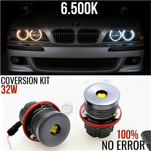 LUCI DI POSIZIONE LED ANGEL EYES PER BMW SERIE 1 5 6 7 X3 X5 CANBUS NO ERROR PROFESSIONALE 32W 6500K