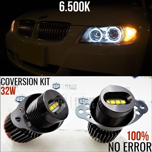 LUCI DI POSIZIONE LED ANGEL EYES PROFESSIONALE 32W PER BMW SERIE 3 E90 E91 CANBUS NO ERROR 6500K