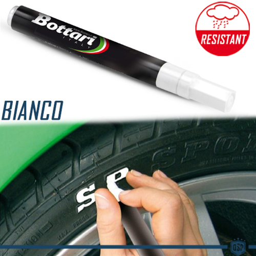 Pennarello Pneumatici Bianco PROFESSIONALE | Scritte Bianche INDELEBILI su Gomme | Water and Wheather RESISTANT